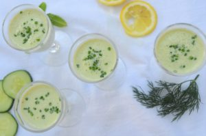 Chilled Creamy Cucumber Yogurt Soup Shooters