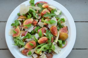 Fresh Fig Arugula, Parmesan and Quick Pickled Onion Salad