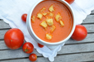 Grilled Fresh Tomato Soup with Garlic Croutons