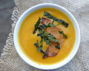 Cider Braised Butternut Squash Soup with Crispy Kale Strips and Roasted Apple Bites