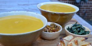 Cider Braised Butternut Squash Soup in heirloom bowls from my mom